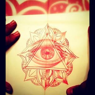 Red Ink Illuminati Eye Tattoo Design