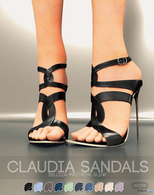 Claudia Sandals July 2018 Group Gift by Pure Poison | Teleport Hub - Second Life Freebies