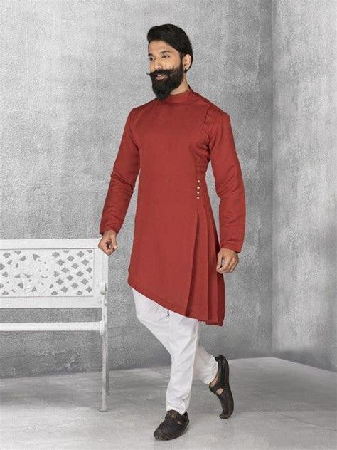 Maroon Terry Rayon Plain Kurta Suit, mens kurta suits