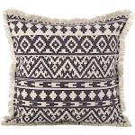 Saro Lifestyle 2152.GY20S Aztec Tribal Design Fringe Trim Cotton Down Filled Throw Pillow - Grey