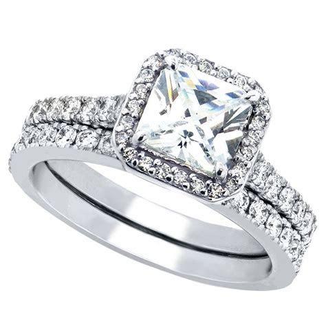 2 Pcs Womens Princess Cut 925 Sterling Silver Bridal