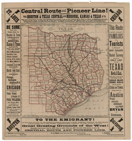 County and Railroad Map of Texas, 1876