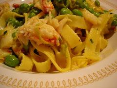 saffron crab and peas with pasta