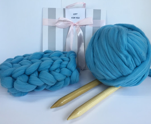 Super Chunky Merino Wool Beginner Blanket Knitting Kit Giveaway