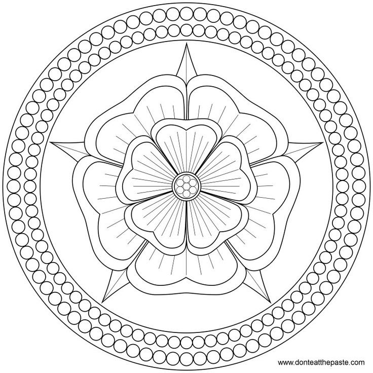 Rose and Pearls Mandala to color or embroider- JPG or transparent PNG format.