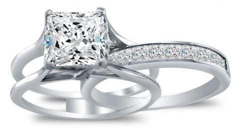 3.35 CT Princess Cut Engagement Bridal Ring Band Set Solid