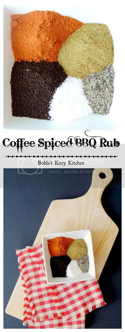 Spiced Coffee BBQ Rub - Take a walk on the wild side, and away from ho-hum steak rubs, with this spicy rub with the earthy flavor of coffee from www.bobbiskozykitchen.com