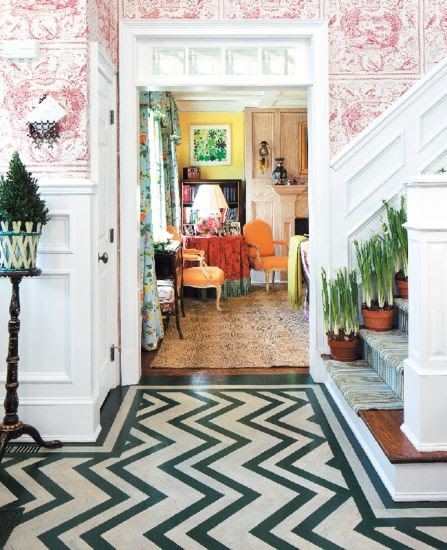 Interior designer Jeffrey Bilhuber - definitely not my style. WAY too much going on here for me; it's almost painful.
