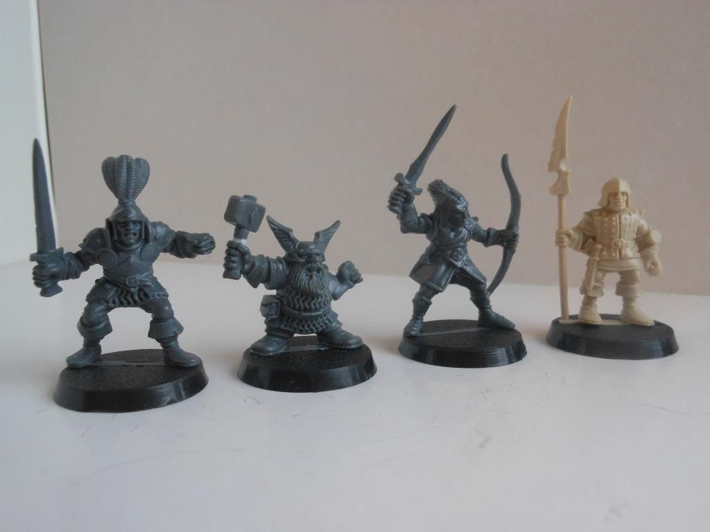 Mighty Warriors dwarf, knight, elf, and henchman