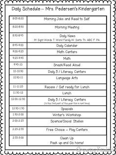 Kindergarten+Daily+Schedule+Template | Mrs Rene Davis Kindergarten ...