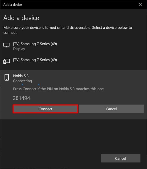 Si los dispositivos que está emparejando muestran el mismo código, presione Conectar