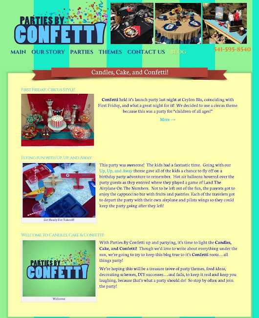 Website Design Example - Parties By Confetti - Bend Pro Web Design
