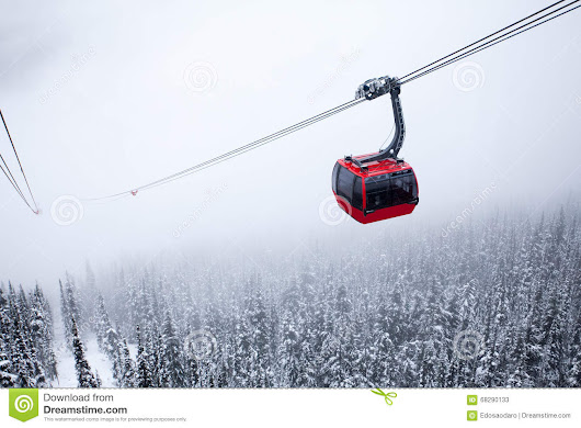 Red Cable Car Foggy Stock Photo - Image: 68290133