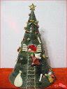 お庭の玉手箱特選クリスマスグッズ焼き物のツリーです森遊子 ツリー大 (赤点滅ライト付)
