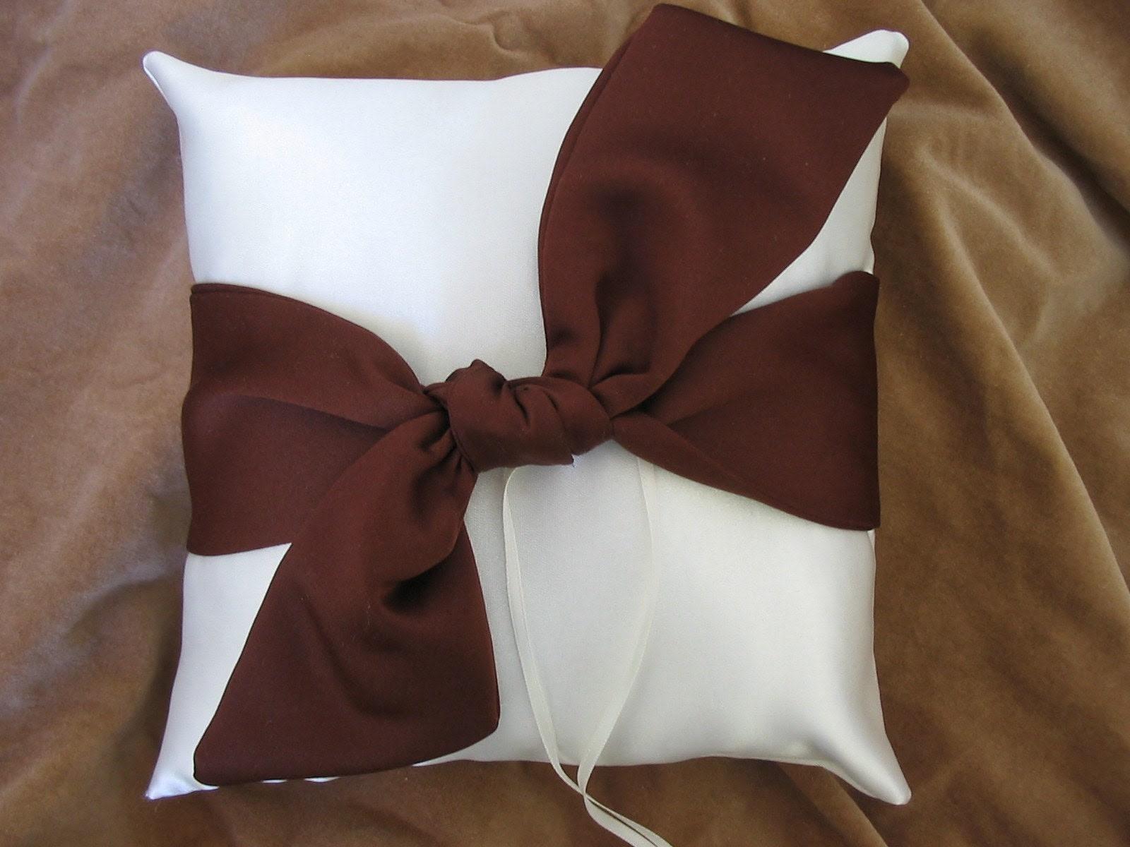 Ivory Chocolate Brown Satin Wedding Ring Pillow