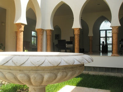Hand Carved Architectural Stone Columns and Fountain