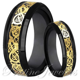 His & Her Black Tungsten Carbide Gold Celtic Dragon Mens
