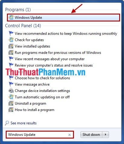 Chọn Windows Update