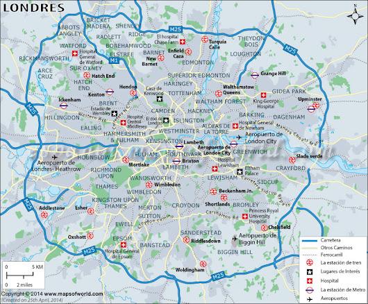 Mapa de #Londres : http://espanol.mapsofworld.com/continentes/europa ...