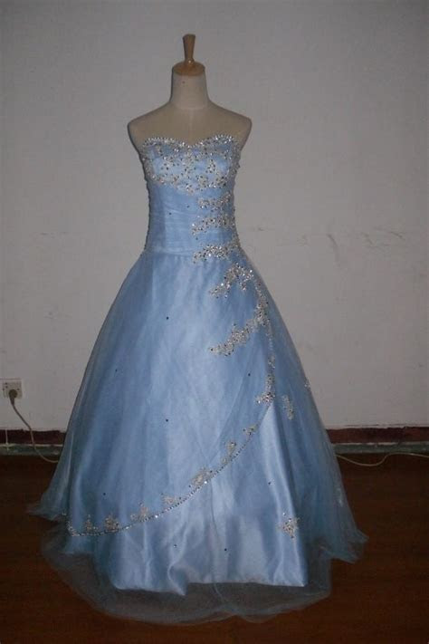 Light Blue Custom Made New Silver Embroidery Beads Tulles