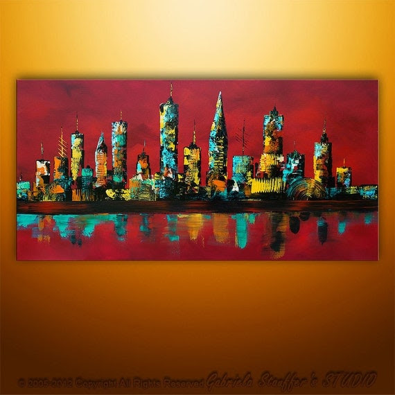 Large Painting Abstract Original Modern Cityscape Art by Catalin 48x24