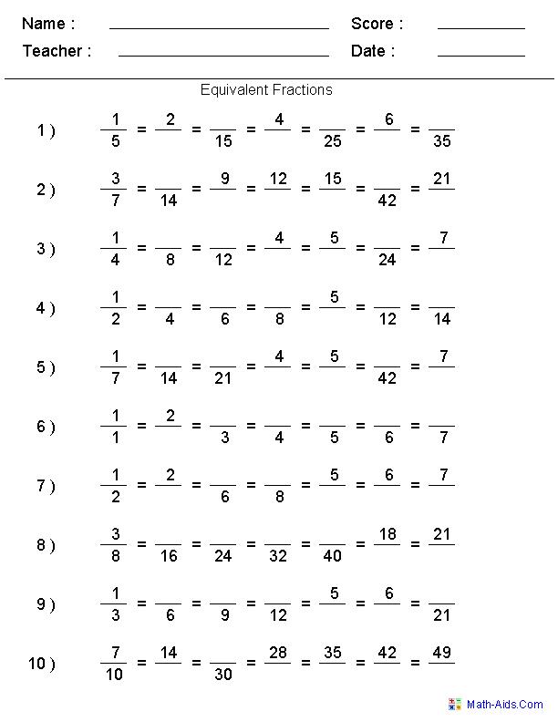Fractions Worksheets Printable Fractions Worksheets For Teachers