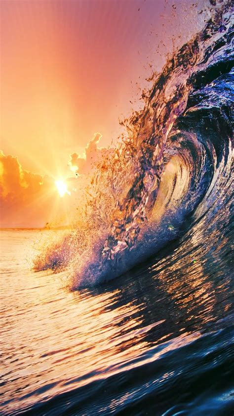 surging wave  sunset iphone  wallpaper
