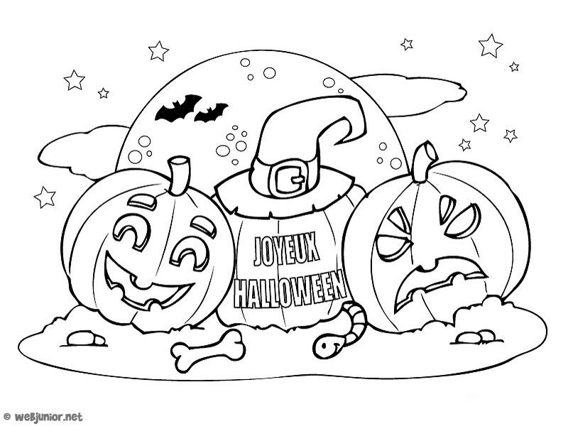 Les Citrouilles Coloriage Halloween Gratuit Sur Webjunior