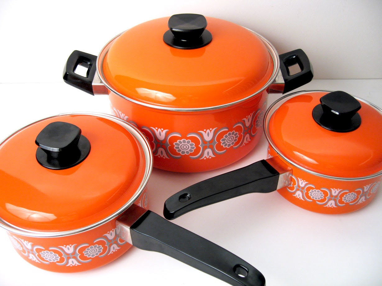 Mid-Century Orange Enamel Cookware Set