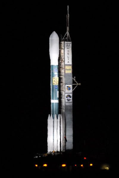 The Delta II rocket carrying the Kepler spacecraft stands ready for launch at Cape Canaveral Air Force Station in Florida (3/6/09).