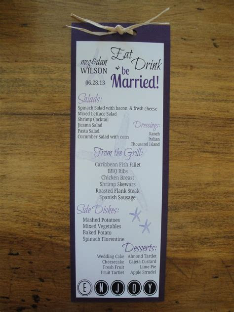 My DIY Reception Menu Cards with DIY Thank You Note Card