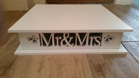Cake Stand Wooden Mr & Mrs Square With Bells   eBay