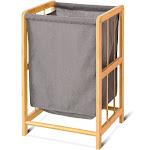 Gymax Laundry Hamper Bamboo Frame Durable Cloth Bag Sorter Storage Basket Bin
