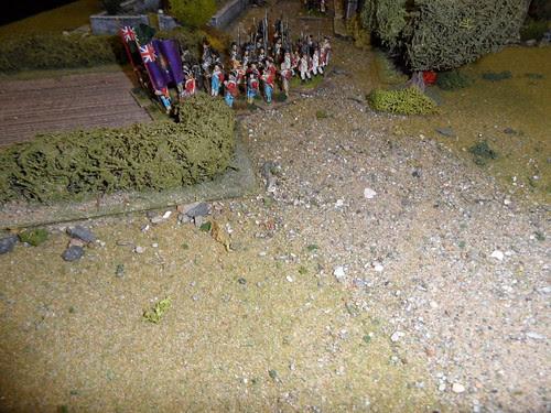 British right flank enter field