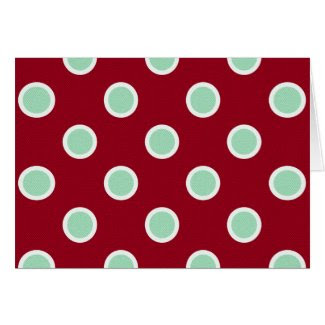 Mint Green Polka Dots on Maroon Feliz Navidad Card