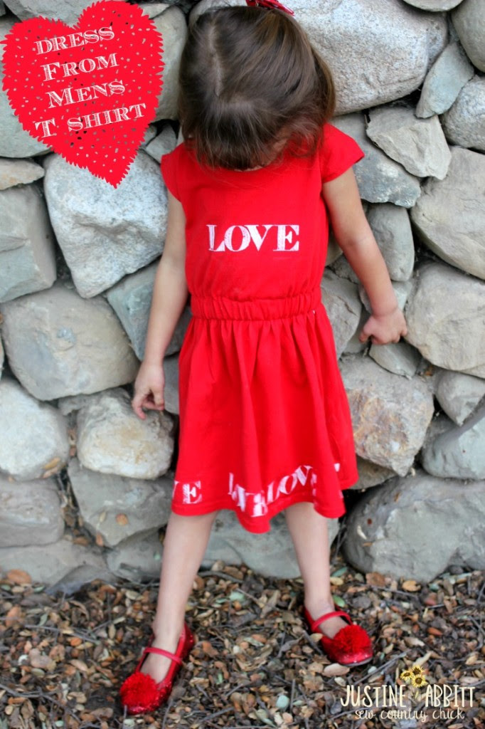 Valentine's Day T Shirt Dress From Mens T @ Sew Country Chick