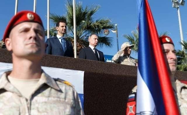 Владимир Путин и Башар Асад на авиабазе Хмеймим в Сирии