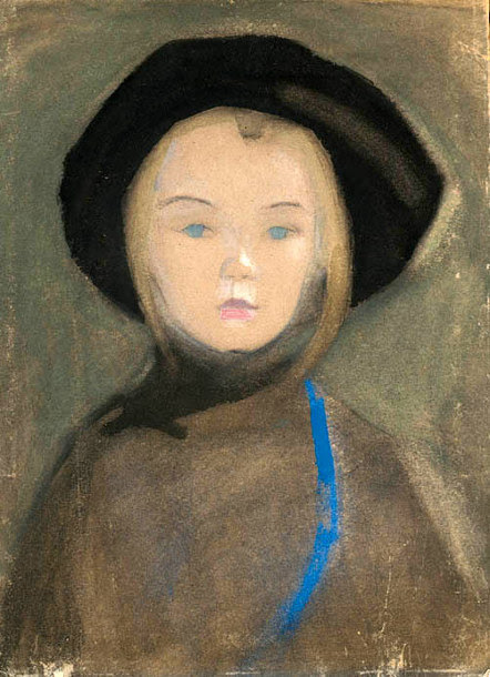 birdsong217:  Helene Schjerfbeck (Finnish, 1862-1946) Girl with Blue Ribbon, 1909.  Watercolour, gouache and pastel on buff paper.