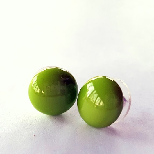 Light Green Stud Earrings Sterling Silver Post by ShanghaiTai