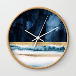 Navy Blue, Gold And White Abstract Watercolor Art Wall Clock by Garden Of Delights Gallery - Natural - White