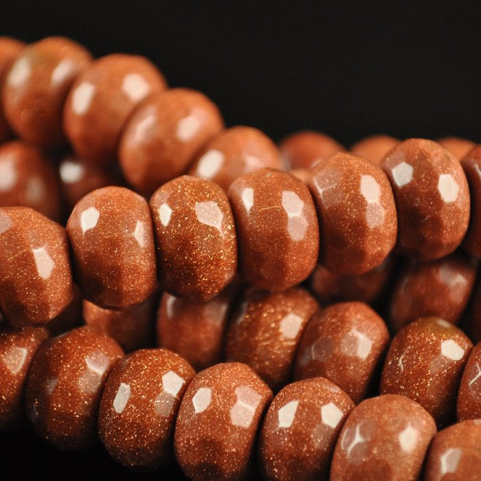s43931 Stone Beads - 12 mm Big Hole Faceted Rondelle Donut - Goldstone (1)