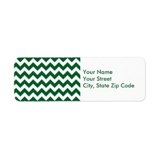 Green and White Zigzag return address label