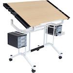 Studio Designs Pro Adjustable Art Drafting Work Station Table Desk, White/ Maple by VM Express