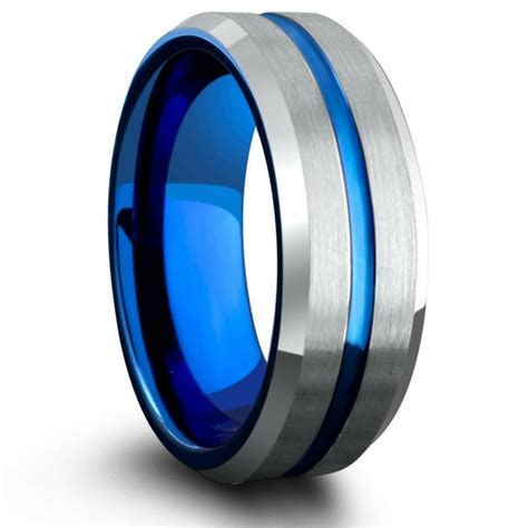 The Atlantic   Blue & Silver Ring With Blue Carved Center