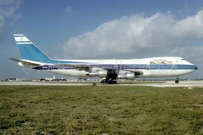 El Al Israel Airlines Boeing 747-258B 4X-AXA (msn 20135) MIA (Bruce Drum). Image: 102874.