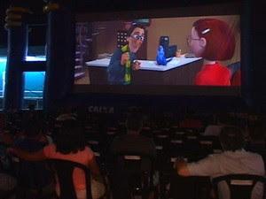 Cinema itinerante no RN (Foto: Reprodução/Inter TV Cabugi)