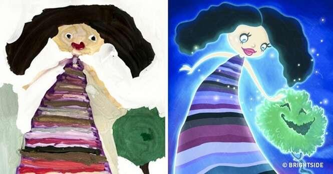 Ilustradores recriam desenhos feitos por crianças e resultado é incrível