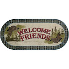 "Dean Washable Non-Slip Welcome Friends Blue Pine Cone Cabin Mountain Kitchen Bath Door Entrance Mat/Rug 20""x44"" Oval"