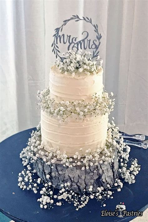 Love this sweet and simple nature inspired wedding cake