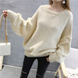 2017 new winter dress T-shirt bat sleeve loose knit Pullover female backing all-match
